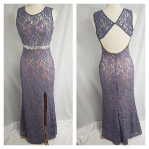 City Studio Lilac Lace Beaded Prom Dress Gown